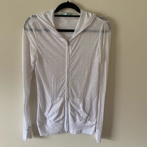 Maurices White Hooded Zip Up Jacket